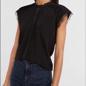 NWOT Express Black Lace Blouse Top Shirt sz S